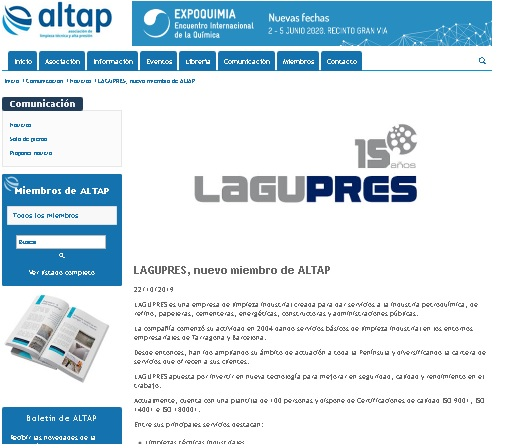 Lagupres, nuevo miembro de ALTAP